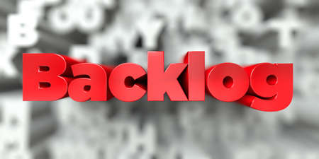 Backlog -  Red text on typography background - 3D rendered royalty free stock image. This image can be used for an online website banner ad or a print postcard. Stock Photo