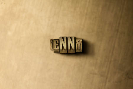jenny: JENNY - close-up of grungy vintage typeset word on metal backdrop. Royalty free stock illustration.  Can be used for online banner ads and direct mail. Stock Photo