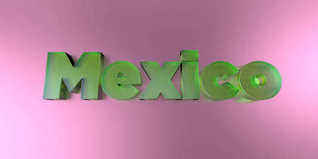 Mexico - colorful glass text on vibrant background - 3D rendered royalty free stock image.