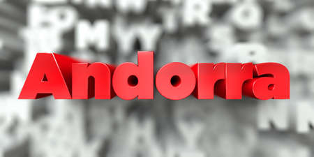 Andorra -  Red text on typography background - 3D rendered royalty free stock image. This image can be used for an online website banner ad or a print postcard. Stock Photo