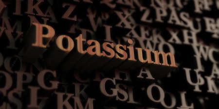 Potassium - Wooden 3D rendered lettersmessage.  Can be used for an online banner ad or a print postcard. Stock Photo