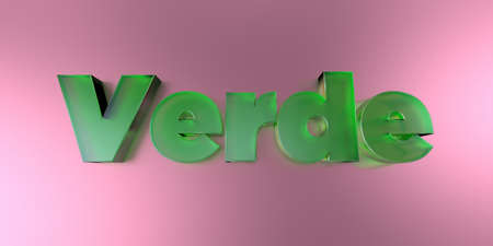 Verde - colorful glass text on vibrant background - 3D rendered royalty free stock image.