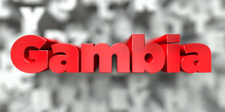 gambia: Gambia -  Red text on typography background - 3D rendered royalty free stock image. This image can be used for an online website banner ad or a print postcard.