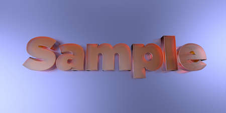 Sample - colorful glass text on vibrant background - 3D rendered royalty free stock image.