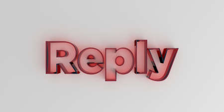 Reply - Red glass text on white background - 3D rendered royalty free stock image.