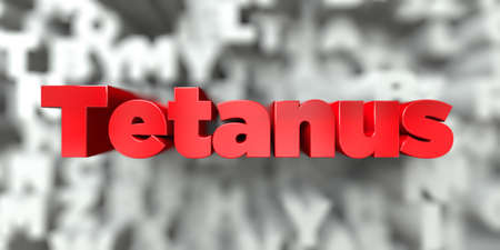 tetanus: Tetanus -  Red text on typography background - 3D rendered royalty free stock image. This image can be used for an online website banner ad or a print postcard. Stock Photo