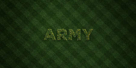 turf flowers: ARMY - fresh Grass letters with flowers and dandelions - 3D rendered royalty free stock image. Can be used for online banner ads and direct mailers.