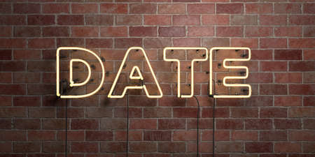 DATE - fluorescent Neon tube Sign on brickwork - Front view - 3D rendered royalty free stock picture. Can be used for online banner ads and direct mailers.