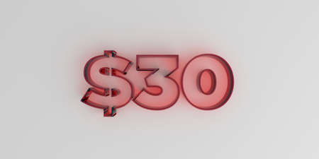 $30 - Red glass text on white background - 3D rendered royalty free stock image. Stock Photo