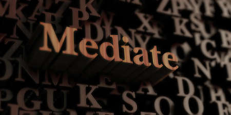 Mediate - Wooden 3D rendered lettersmessage.  Can be used for an online banner ad or a print postcard.
