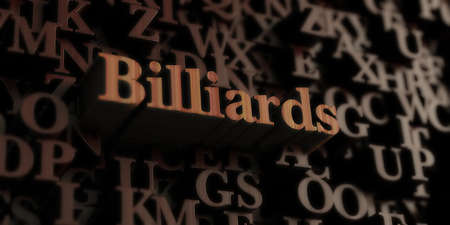 Billiards - Wooden 3D rendered lettersmessage.  Can be used for an online banner ad or a print postcard.