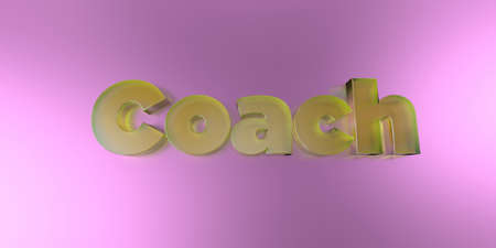 Coach - colorful glass text on vibrant background - 3D rendered royalty free stock image.