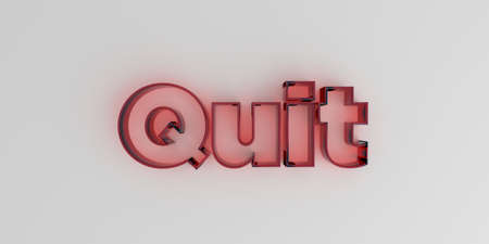 quit: Quit - Red glass text on white background - 3D rendered royalty free stock image.