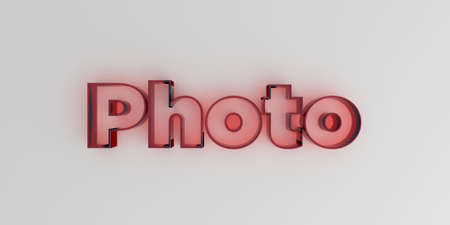 royalty free: Photo - Red glass text on white background - 3D rendered royalty free stock image. Stock Photo