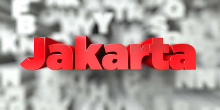 Jakarta -  Red text on typography background - 3D rendered royalty free stock image. This image can be used for an online website banner ad or a print postcard. Stock Photo