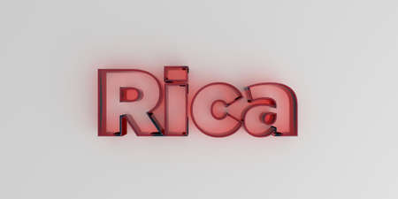Rica - Red glass text on white background - 3D rendered royalty free stock image. Stock Photo