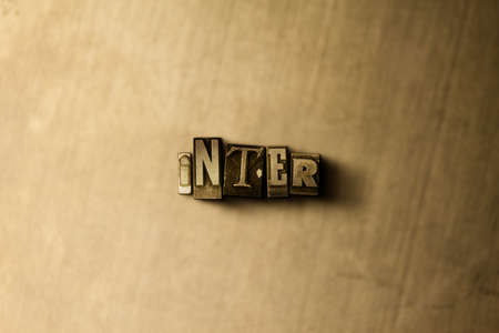 inter: INTER - close-up of grungy vintage typeset word on metal backdrop. Royalty free stock illustration.  Can be used for online banner ads and direct mail. Stock Photo