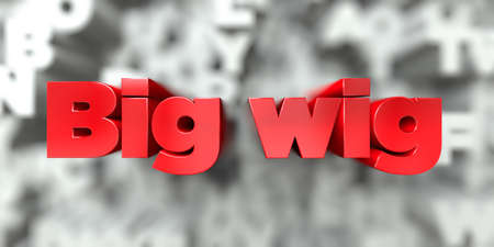 wig: Big wig -  Red text on typography background - 3D rendered royalty free stock image. This image can be used for an online website banner ad or a print postcard.
