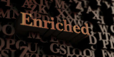 enriched: Enriched - Wooden 3D rendered lettersmessage.  Can be used for an online banner ad or a print postcard.