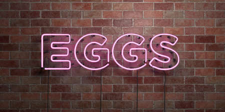 glow in the dark: EGGS - fluorescent Neon tube Sign on brickwork - Front view - 3D rendered royalty free stock picture. Can be used for online banner ads and direct mailers.