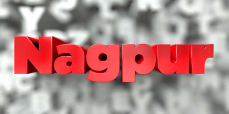 nagpur: Nagpur -  Red text on typography background - 3D rendered royalty free stock image. This image can be used for an online website banner ad or a print postcard.