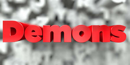Demons -  Red text on typography background - 3D rendered royalty free stock image. This image can be used for an online website banner ad or a print postcard.