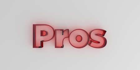 Pros - Red glass text on white background - 3D rendered royalty free stock image. Stock Photo