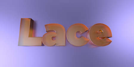 Lace - colorful glass text on vibrant background - 3D rendered royalty free stock image. Stock Photo