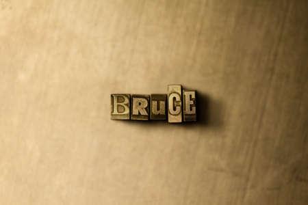 ブルース - グランジ ビンテージのクローズ アップは、金属の背景上の単語をタイプセットします。ロイヤリティ フリーのストック イラスト素材。