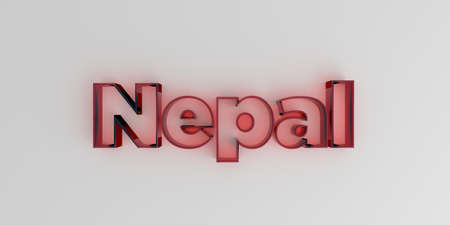 Nepal - Red glass text on white background - 3D rendered royalty free stock image. Фото со стока - 72670195