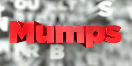 Mumps -  Red text on typography background - 3D rendered royalty free stock image. This image can be used for an online website banner ad or a print postcard.