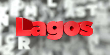 Lagos -  Red text on typography background - 3D rendered royalty free stock image. This image can be used for an online website banner ad or a print postcard.