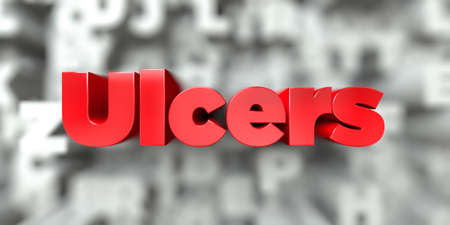 Ulcers -  Red text on typography background - 3D rendered royalty free stock image. This image can be used for an online website banner ad or a print postcard. Stock Photo