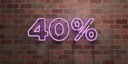 40: 40% - fluorescent Neon tube Sign on brickwork - Front view - 3D rendered royalty free stock picture. Can be used for online banner ads and direct mailers. Stock Photo