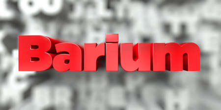 Barium -  Red text on typography background - 3D rendered royalty free stock image. This image can be used for an online website banner ad or a print postcard.