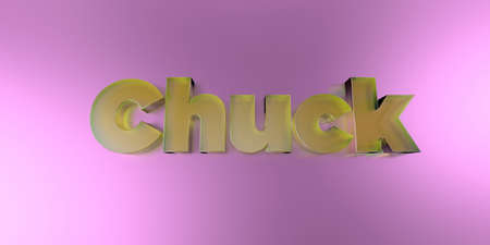 chuck: Chuck - colorful glass text on vibrant background - 3D rendered royalty free stock image. Stock Photo