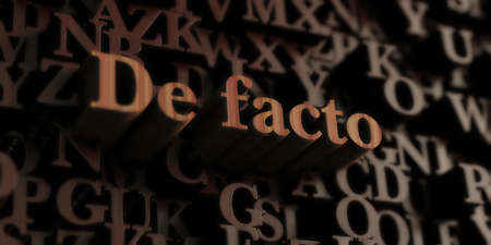 facto: De facto - Wooden 3D rendered lettersmessage.  Can be used for an online banner ad or a print postcard. Stock Photo