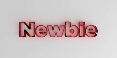 newbie: Newbie - Red glass text on white background - 3D rendered royalty free stock image.