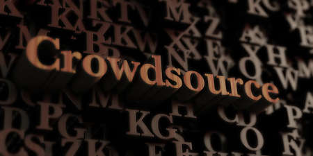crowdsource: crowdsource - Wooden 3D rendered lettersmessage.  Can be used for an online banner ad or a print postcard.