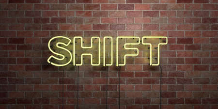SHIFT - fluorescent Neon tube Sign on brickwork - Front view - 3D rendered royalty free stock picture. Can be used for online banner ads and direct mailers.