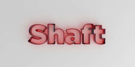 シャフト - 白い背景に赤いガラス テキスト - 3 D レンダリングされたロイヤリティ無料ストック画像。