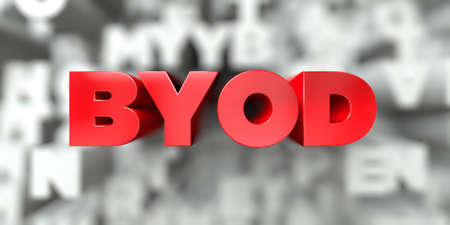 BYOD -  Red text on typography background - 3D rendered royalty free stock image. This image can be used for an online website banner ad or a print postcard.