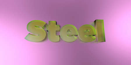 Steel - colorful glass text on vibrant background - 3D rendered royalty free stock image.
