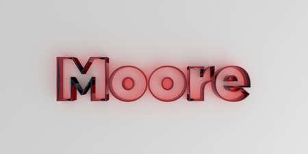 ムーア - 白い背景に赤いガラス テキスト - 3 D レンダリングされたロイヤリティ フリー ストック イメージ。 写真素材