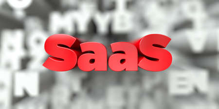 saas: SaaS -  Red text on typography background - 3D rendered royalty free stock image. This image can be used for an online website banner ad or a print postcard. Stock Photo