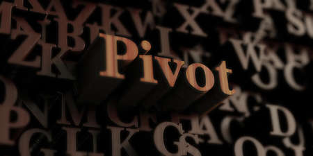 pivot - Wooden 3D rendered lettersmessage.  Can be used for an online banner ad or a print postcard.