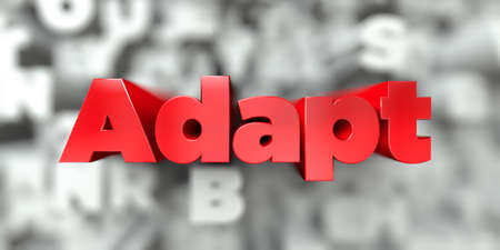 Adapt -  Red text on typography background - 3D rendered royalty free stock image. This image can be used for an online website banner ad or a print postcard.