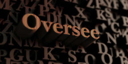 oversee: Oversee - Wooden 3D rendered lettersmessage.  Can be used for an online banner ad or a print postcard. Stock Photo