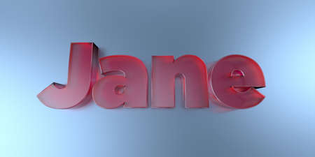 Jane - colorful glass text on vibrant background - 3D rendered royalty free stock image.