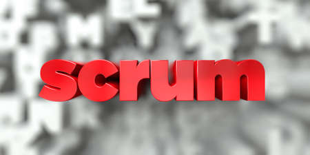scrum -  Red text on typography background - 3D rendered royalty free stock image. This image can be used for an online website banner ad or a print postcard.